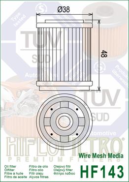 Hiflo Filtro Ölfilter HF143 für Yamaha – Bild 2