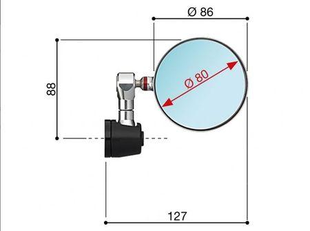"Rizoma Spy-R 80 ""silber"" Lenkerspiegel - ohne ABE & Adapter – Bild 2"