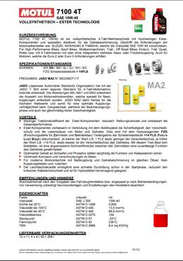 MOTUL 7100 4T 10W-40 Motoröl - 1 Liter (1000ml) – Bild 2
